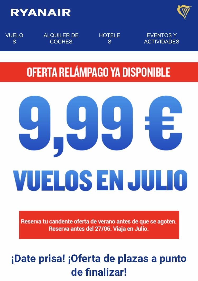 Vuelos en Julio desde 4,99 €