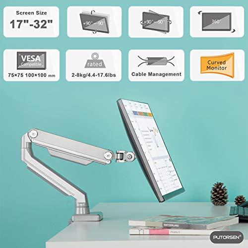 "Soporte de Escritorio para Monitor de13"" a 32"", Aluminio, Capacidad de Carga 8kg"
