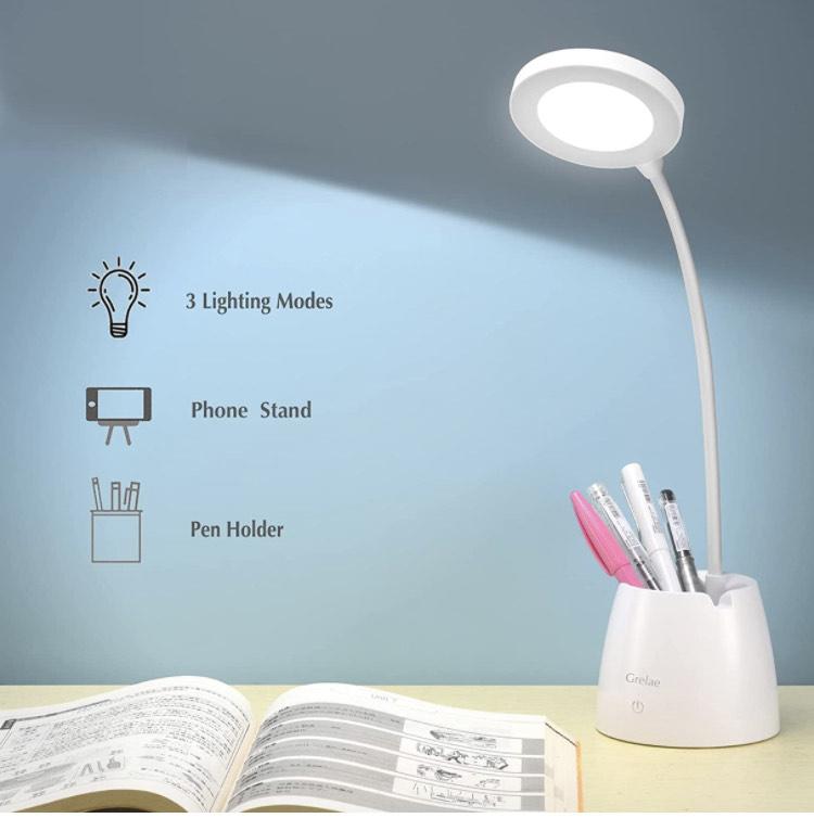 Lámpara Escritorio LED, Flexo LED Escritorio con Portalápices y Soporte Móvil