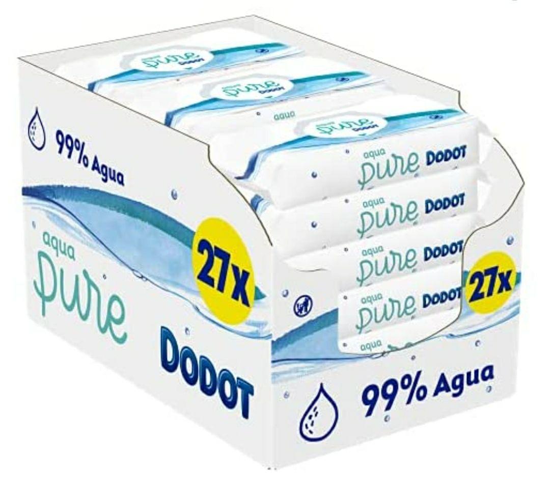 27 paquetes de 48 toallitas Dodot Aqua Pure (precio mínimo, no confundir con el pack de 18), a menos de 0,03€/ud. 1.296 toallitas. TAPA DURA