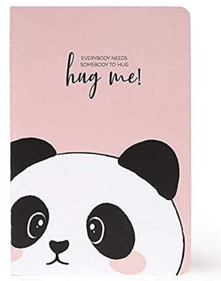 Cuaderno de rayas, papel A6, diseño de oso panda