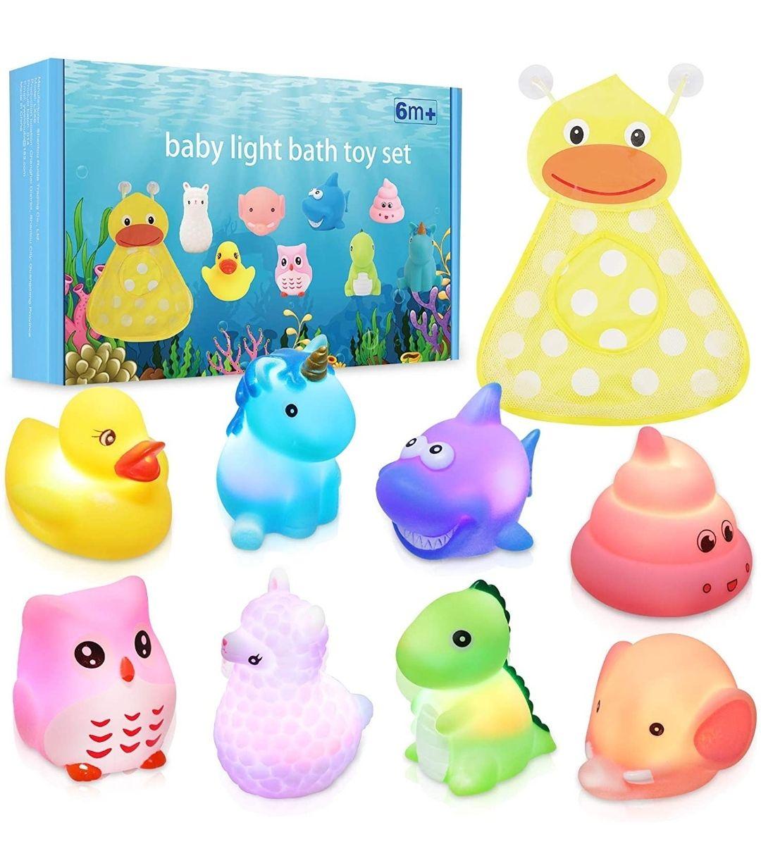 Juguetes de Baño Luminosos para Bebé Niños. 8 piezas