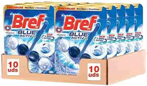Bref Blue Active Higiene, Colgador WC con 50% más de Brillo - Pack de 10 unidades