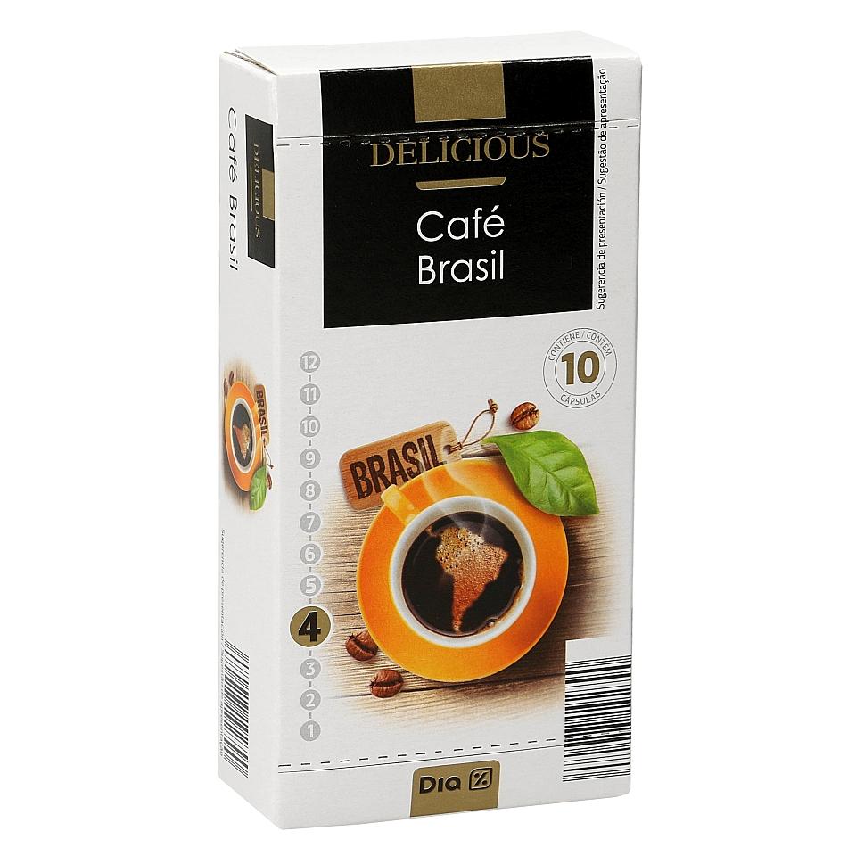 Compatible Nespresso 100% café de Brasil 10 cápsulas, caja 52 gr a 1€ DIA DELICIOUS