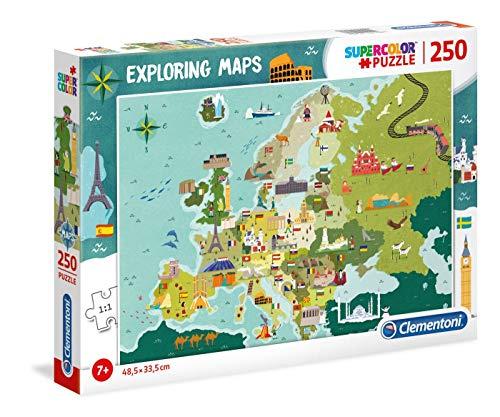 Clementoni- Exploring Maps Puzzle, 250 Piezas