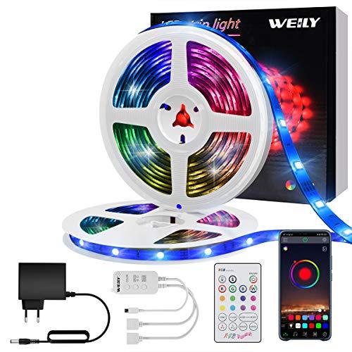 Tiras LED 10M Bluetooth, WEILY impermeable Sincronización de música luces led musica RGB