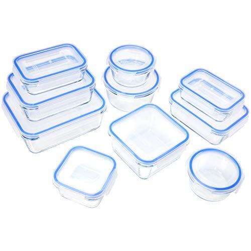 Amazon Basics - Recipientes de cristal para alimentos, con cierre 20 piezas (10 envases + 10 tapas), sin BPA