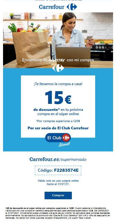 Códigos de 15 € de descuento en Carrefour supermercado para todas las cuentas, por compra de 120 €