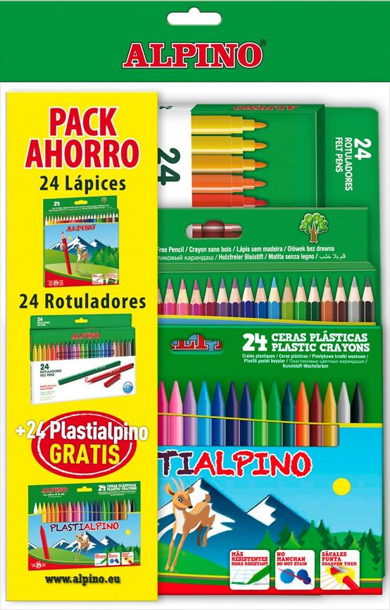 SUPERPACK ALPINO: 24 Lápices + 24 rotuladores + 24 Ceras plásticas por sólo 3,95€