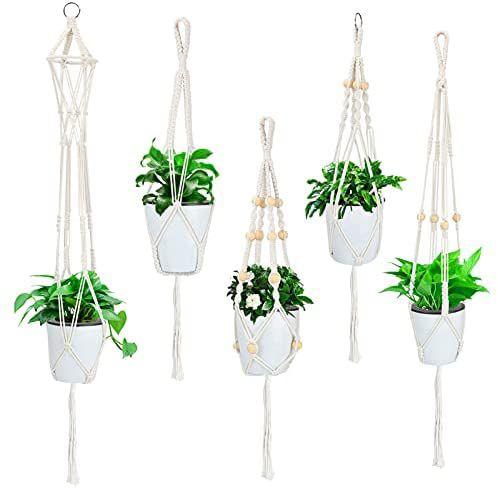 Juego de 5 Soportes para Plantas de macramé