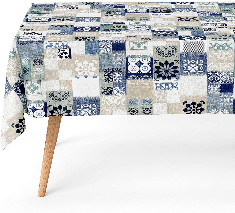 Mantel Antimanchas Dakota Azul 140x140 cm