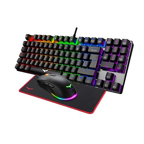 Pack Teclado mecánico RGB switch red, Ratón y alfombrilla