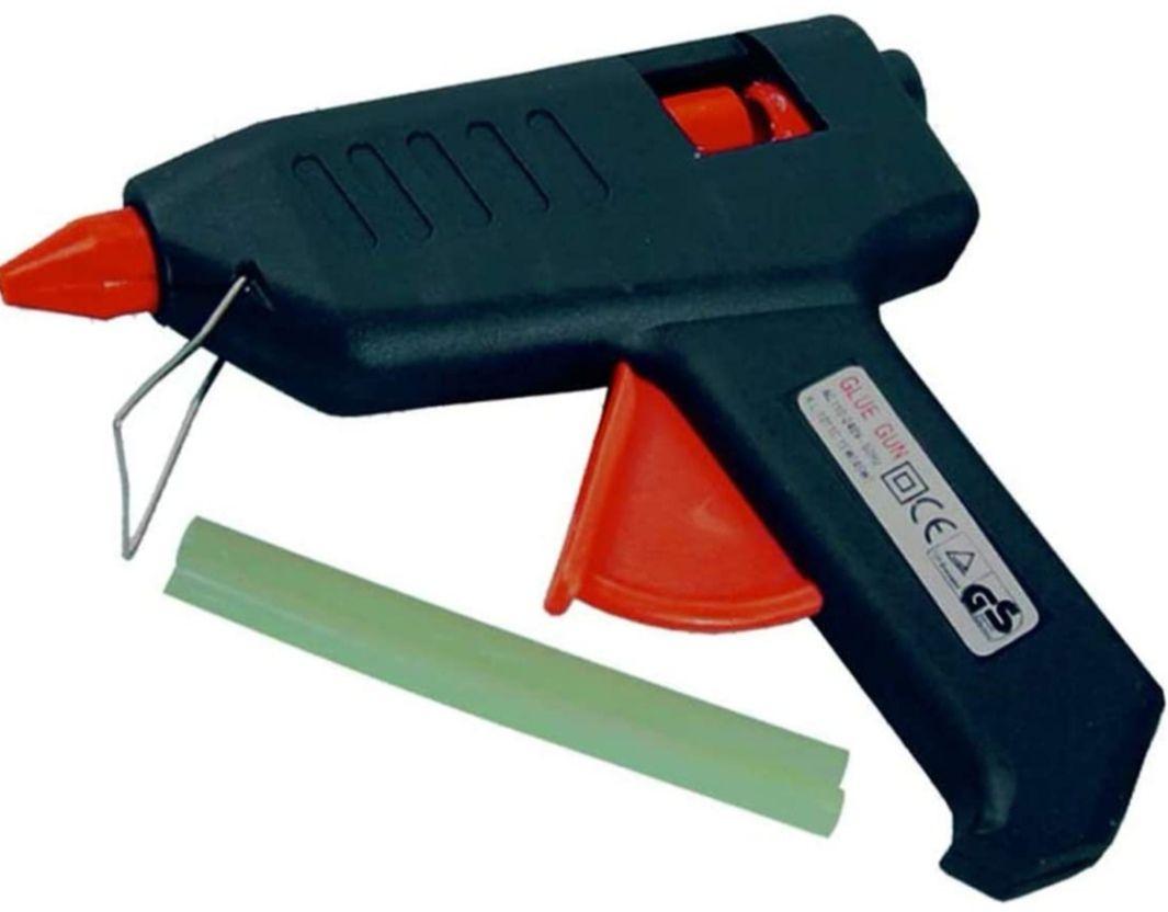 Pistola de pegamento termofusible + 2 barras de pegamento de 12 x 200 mm