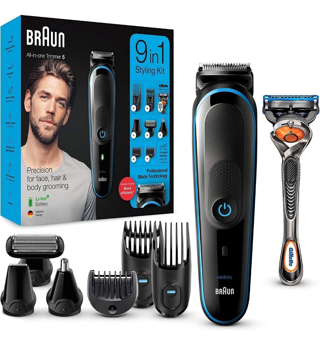 Braun. Máquina recortadora de barba, set de depilación corporal y cortapelos para hombre, color negro/azul,