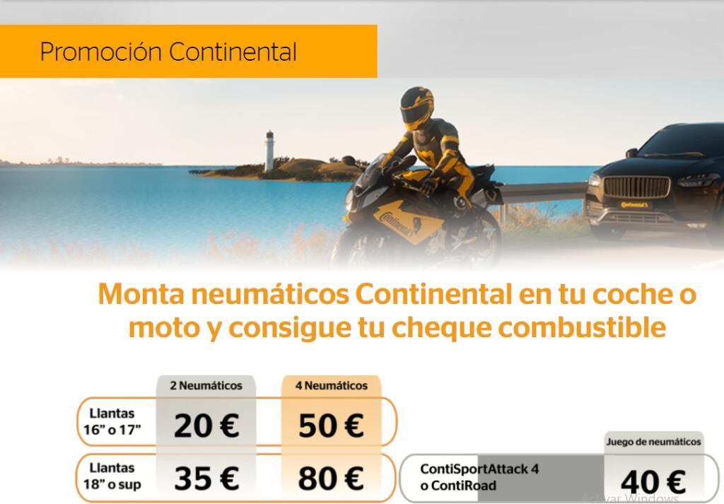 Cheque gasolina Repsol hasta 80 €, montando neumaticos Continental