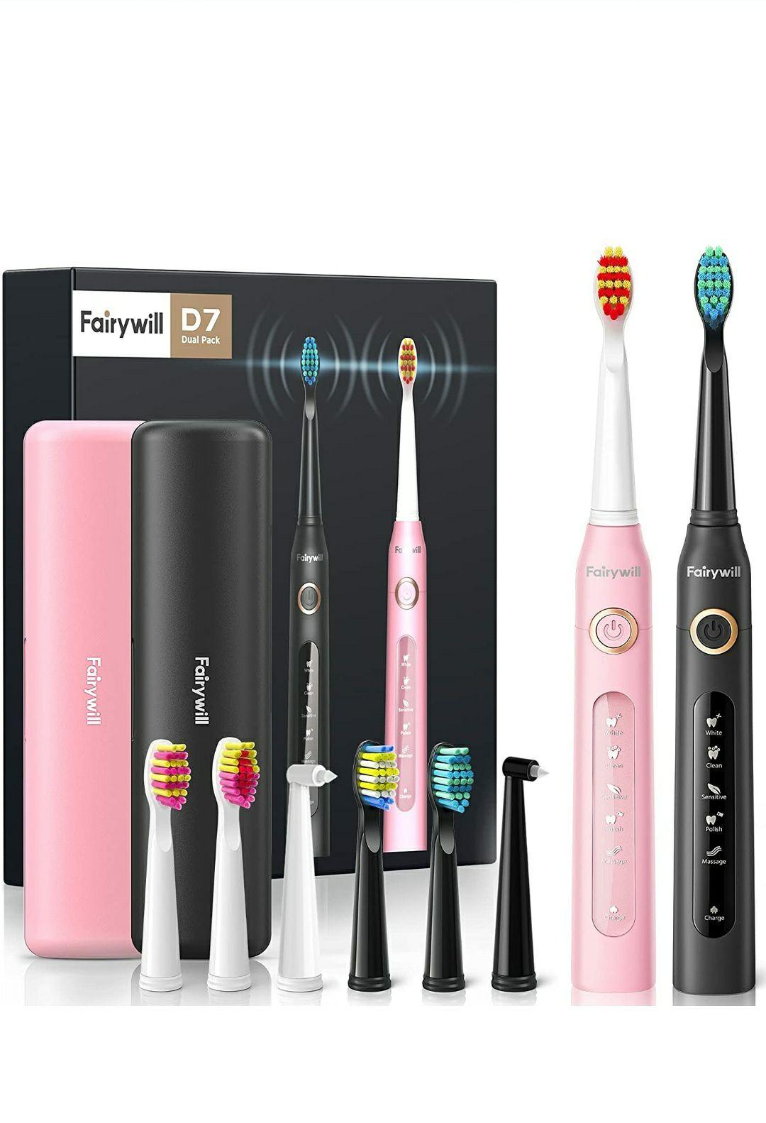 Dos cepillos de dientes eléctricos con 8 cabezales y 2 estuches