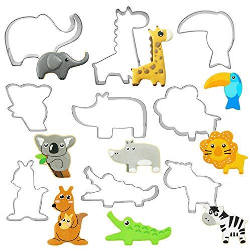 Pack de 9 Moldes Cortadores de figuras de animales, Acero inoxidable. Por 5,59€