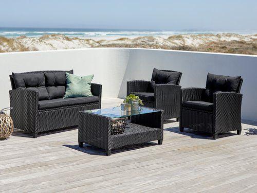 Set muebles jardín MORA 4 pers ( negro y beige )