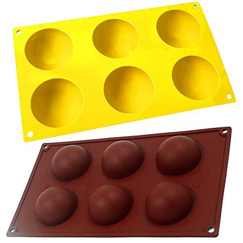 Pack de 2 Moldes De Silicona De 6 Cavidades, media esfera. Por 4,99€