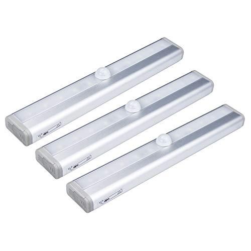 3 x lamparas LED con detector de movimiento, 10 LED, 6000K