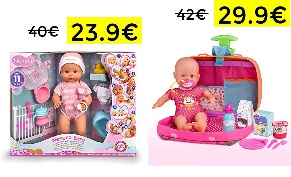 Muñeca interactiva Nenuco 23.9€//Muñeco con maletín trolley 29.9€