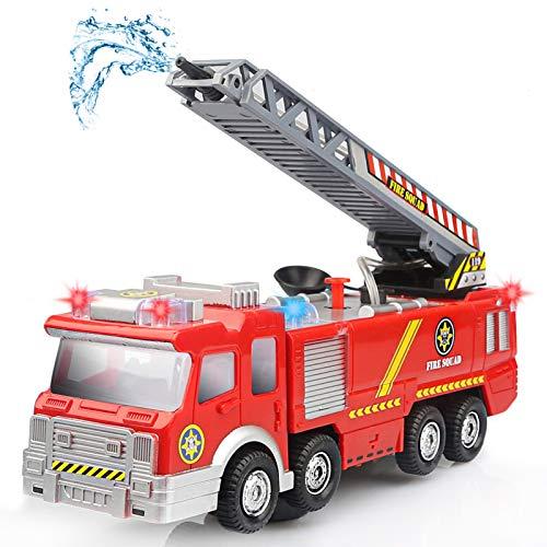 Camión de Bomberos Eléctrico,Luz,sonidos,Bomba de Agua y Escalera Extendible