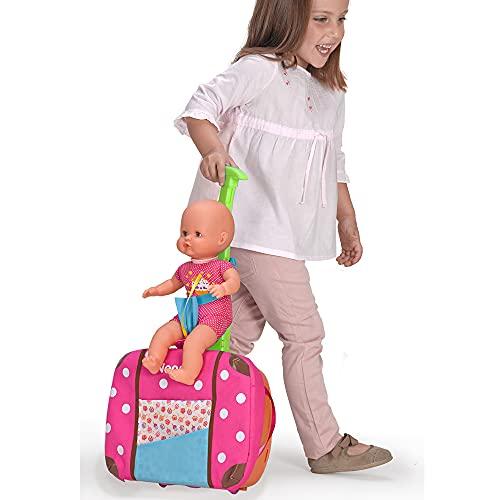 Nenuco - Siempre Conmigo, Maletín trolley con ruedas para llevar a todas partes como mochila, bebe Nenuco y accesorios médicos y de cuidado