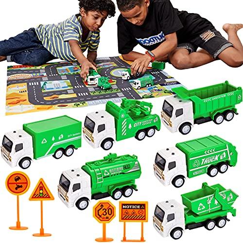 6 Camiones de Basura Pequeños Metálicos, con Tapete de Juego y Señales de Tráfico. Por 11,86€