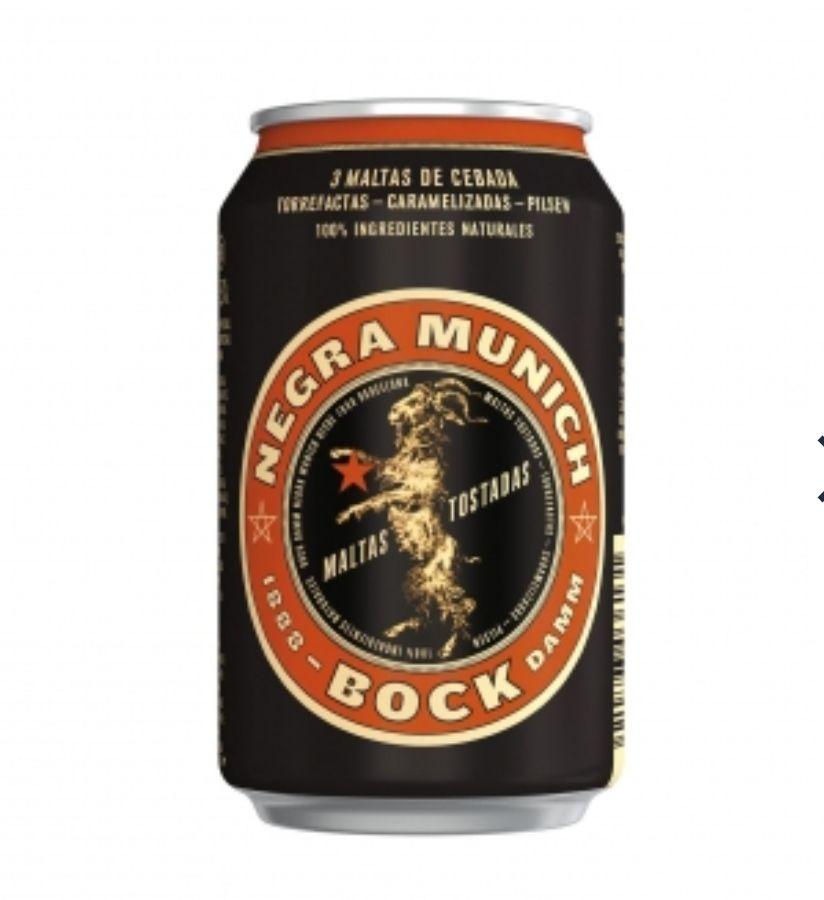 Cerveza negra Bock Damm Munich lata 33 cl. solo 0'52€ unidad (Descuento y 3x2)