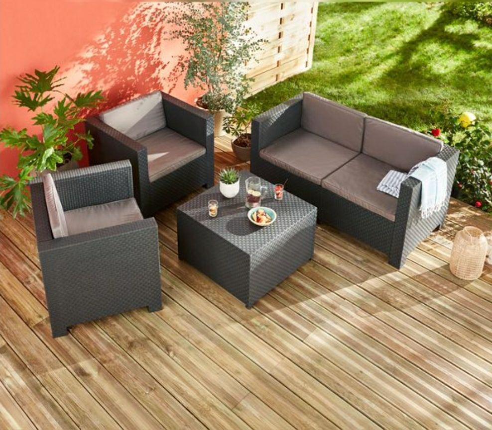 Conjunto de jardín Diva: Mesa con almacenamiento, sofá y sillas con cojines. Resiste rayos UV