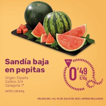 Ahorramas: Sandía baja en pepitas 0,49€/Kg