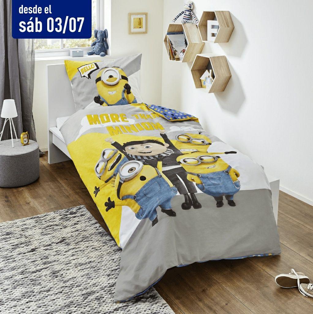 Ropa de cama niños 100% algodón Minions, Parque Jurásico, Spirit rosa y azul DISNEY® / MARVEL® / DREAMWORKS® en tiendas Aldi