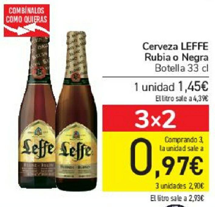 Cerveza Leffe Brune y Triple, rubia o negra de 6,5° a 8,5° alcohol, comprando 3