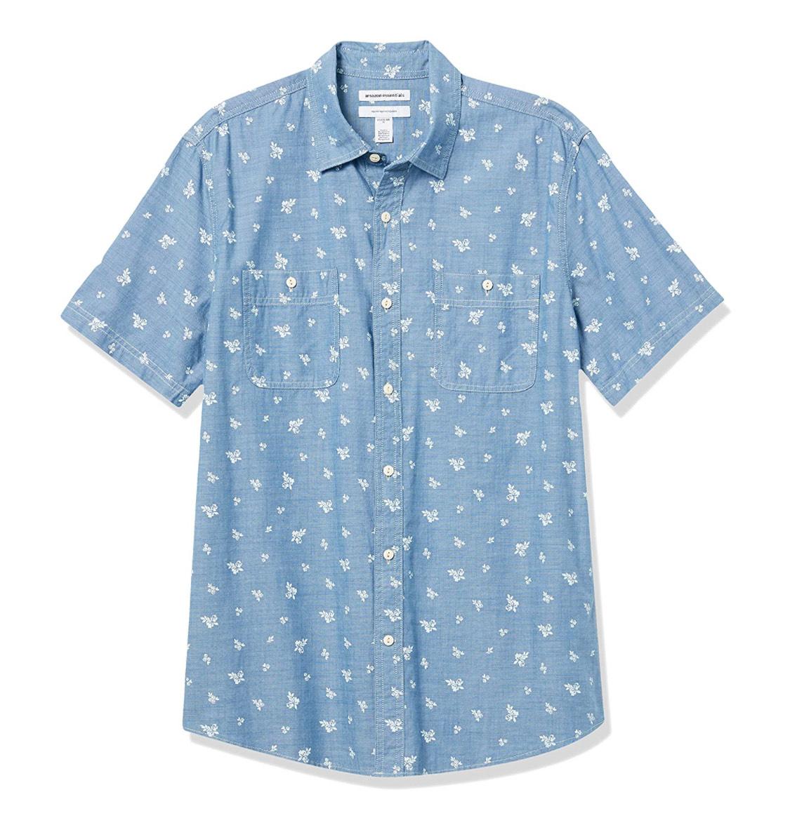 Camisa de manga corta hombres estampado hojas talla XS (M a 7.80€)