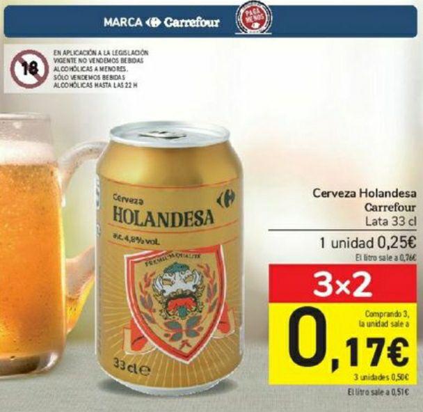 Cerveza holandesa lata 33cl Carrefour solo en tiendas