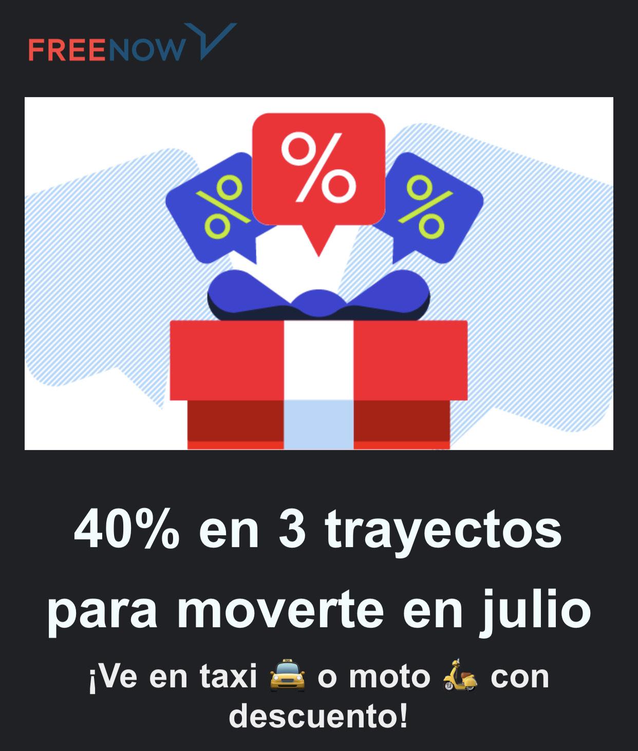40% descuento 3 trayectos taxi o moto