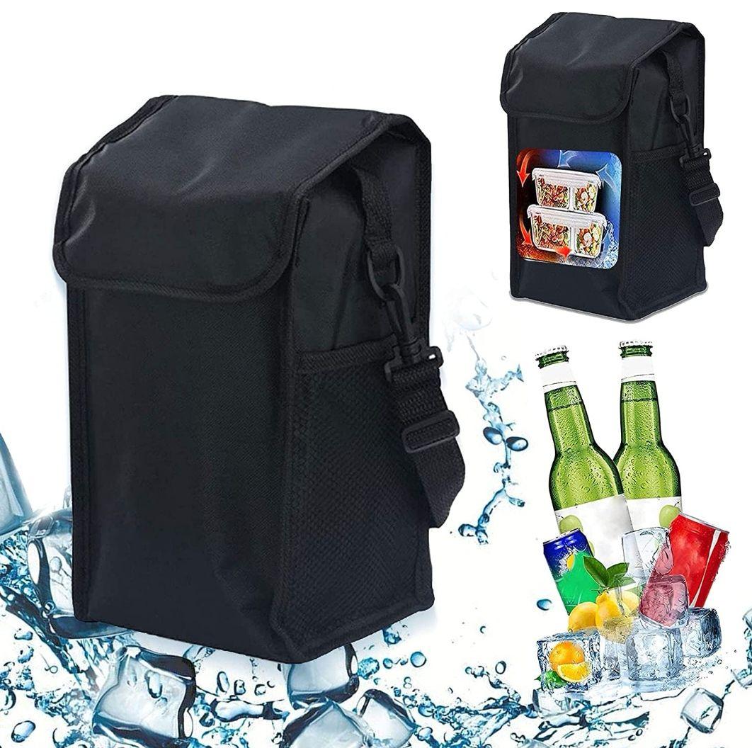 Bolsa térmica impermeable con gran compartimento principal + dos bolsillos laterales + asa o bandolera ajustable.