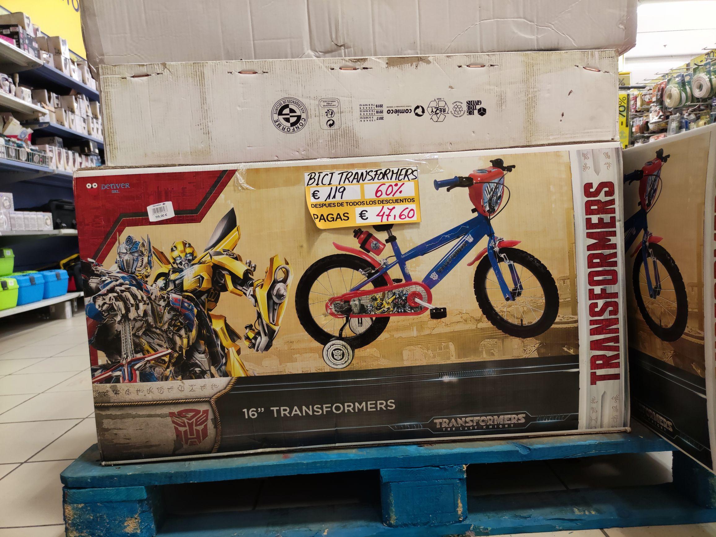 Bicicleta Transformers 16 en el Carrefour c.c. puerta de Alicante
