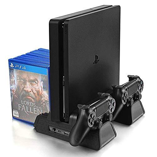 KONKY Soporte Vertical para PS4/PS4 Slim/Pro con 3 Ventiladores Refrigeración, Cargador Controlador PS4 y 12pcs Almacenamiento de Discos