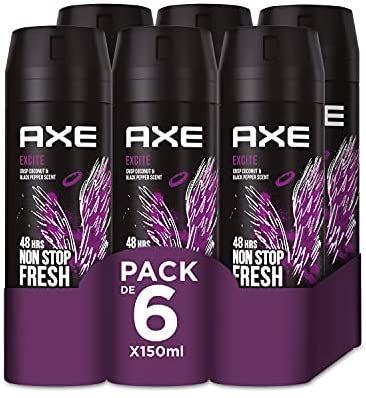 Axe Excite Rock Desodorante - 150 ml - Pack de 6 (compra recurrente)