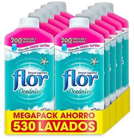 Flor - Suavizante para la ropa concentrado, aroma Oceánico - Pack de 10, hasta 530 dosis (compra recurrente)