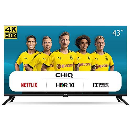 "Smart TV ChiQ 43"" 4K UHD HDR 10/HLG WiFi Netflix Prime Video Youtube [Clase de eficiencia energética G]"