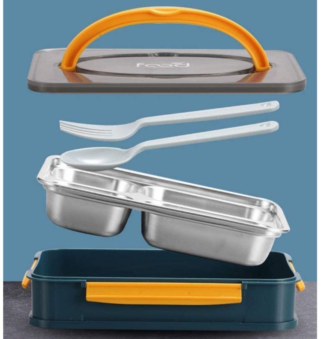 Fiambrera de Acero Inoxidable, 4 Compartimentos + Tenedor y Cuchara. Apto para Lavavajillas