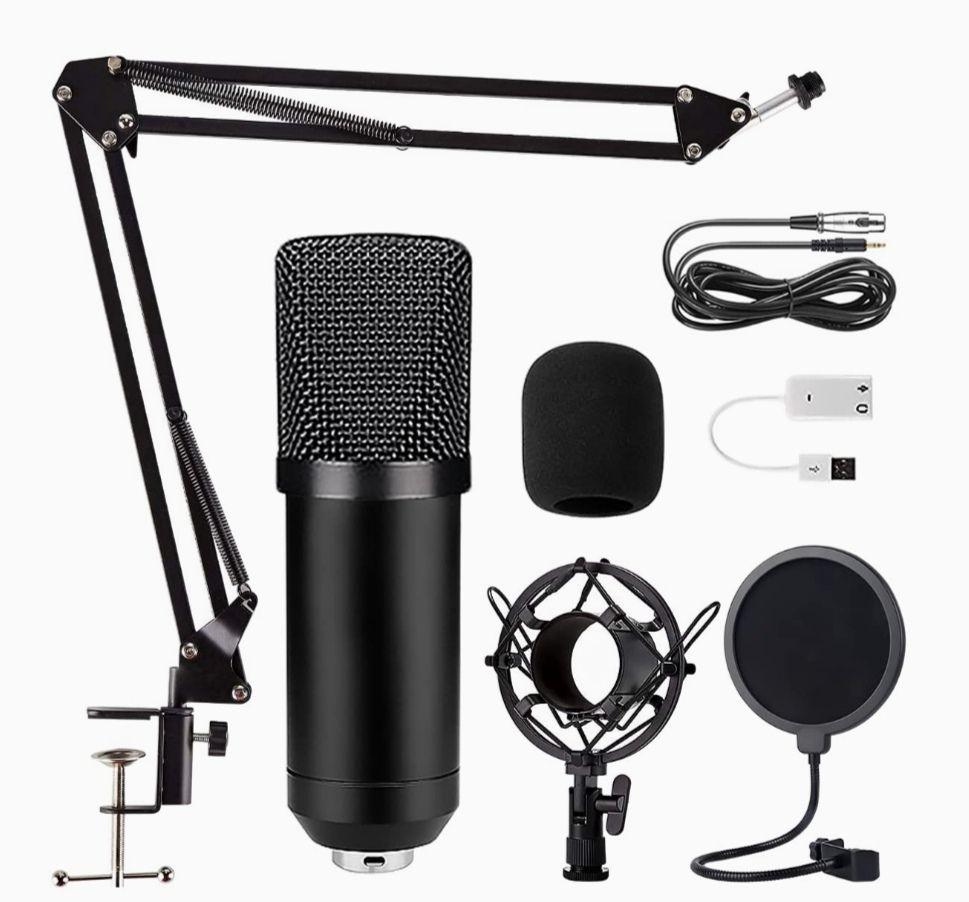 Pack micrófono de condensador + 1 brazo + soporte para amortiguadores + filtro abatible + cubierta de espuma + cable XLR + cable USB