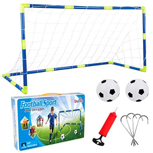 Set de portería de fútbol con red y balón hinchable.