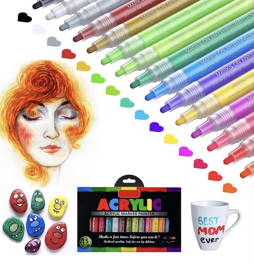 15 Colores Rotuladores de Pintura Acrílica Prima Impermeable Permanente