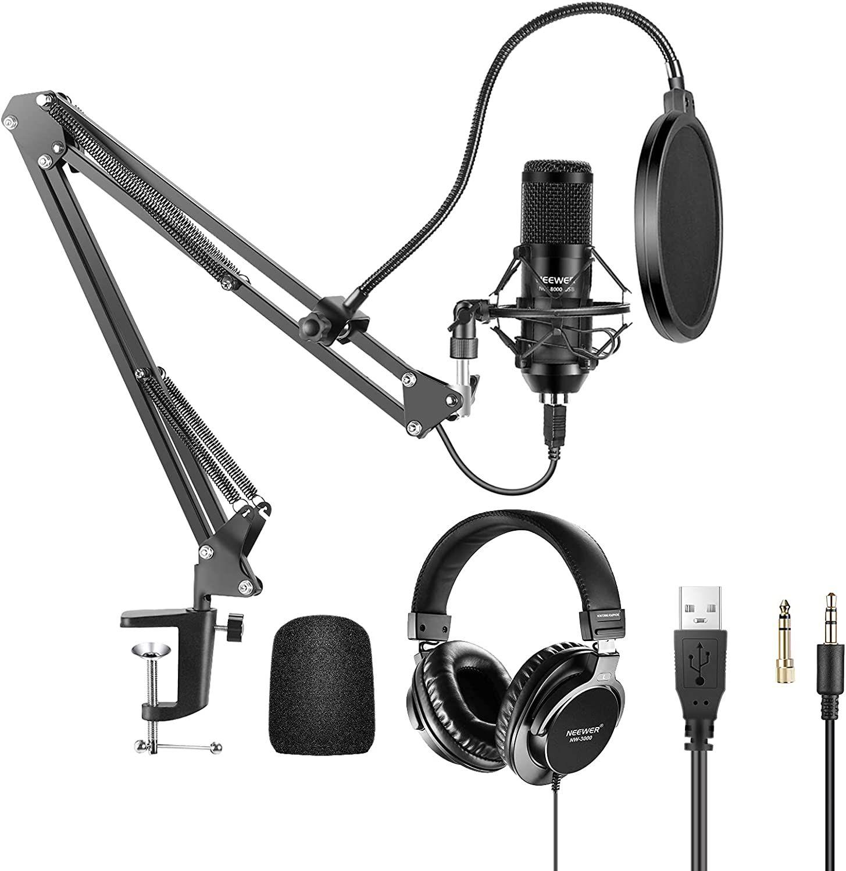 Kit Micrófono USB 192KHz / 24Bit Micrófono Condensador Cardioide Conecta con Auriculares