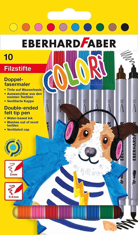 10 colores brillantes, rotuladores de doble punta con punta gruesa y fina
