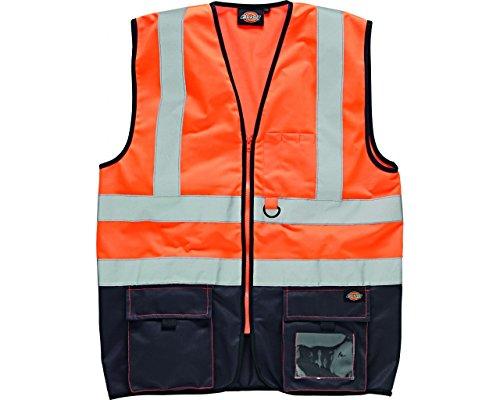 Chaleco de seguridad alta visibilidad, naranja/azul marino (talla S)