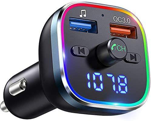 Transmisor FM Bluetooth Coche, Adaptador Bluetooth para Coche, con Dual USB QC3.0 & 5V1A